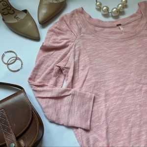 Free People Pink Ruched Crewneck